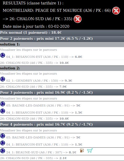 Tarifs Montbéliard - Chalon Sud